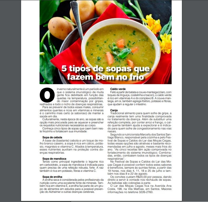 Reportagem destaca benefícios à saúde das sopas do LMC