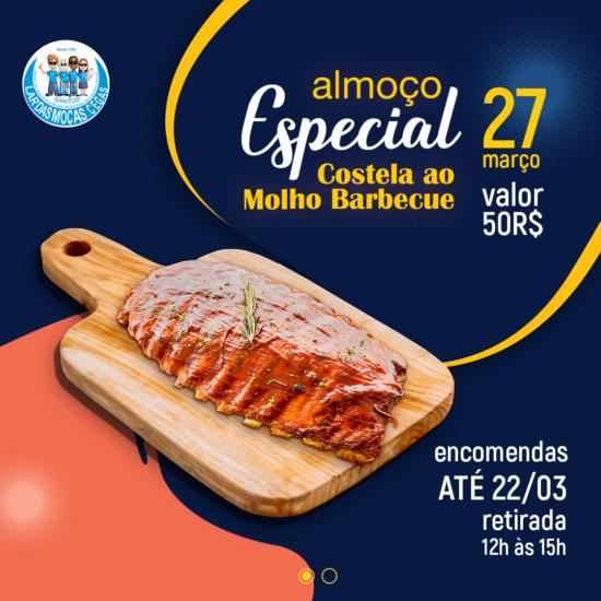 'Almoço Especial – Costela ao Molho Barbecue' é o próximo evento à distância do Lar