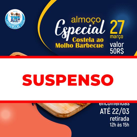 Evento Almoço Especial: Costela ao Molho Barbecue suspenso por conta do Lockdown na Baixada Santista